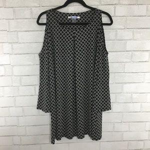 Nygard Black & White Keyhole Tunic, Bell Sleeves